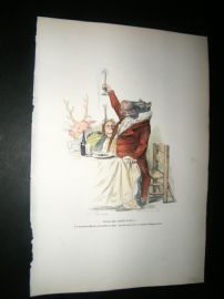Grandville des Animaux 1842 Hand Col Print. Toasting Hippo